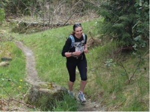 Sheila running in her first trail race of 2014, where she was happy to gain some valuable insight on having fun.