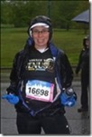A very wet Sheila at the start of the Vancouver BMO Half Marathon.