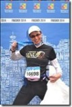 Finish of the Vancouver Half marathon, a very proud Moon jogger.