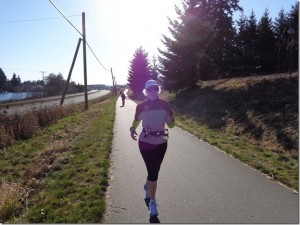 Catherine running her longest distance to date, 10.6 miles, nearly one year post breaking her leg.