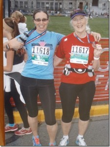 Catherine and coach Sheila after finishing an 8 km race.