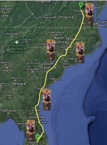 Map of Miles Run in 2013