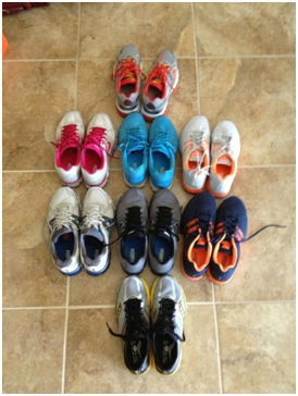 The Fleet.  The top 4 pair are my shoes, the bottom 4 are Jim's shoes.