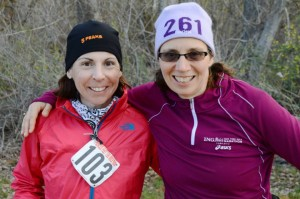 Natalie and Sheila during Natalie's final lap of 100 miles, Sheila was in hour 18 and soon would miss Natalie's company.